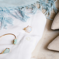 User Generated Content for Olivia & Grace Hexagon Pave Ring in Moonstone