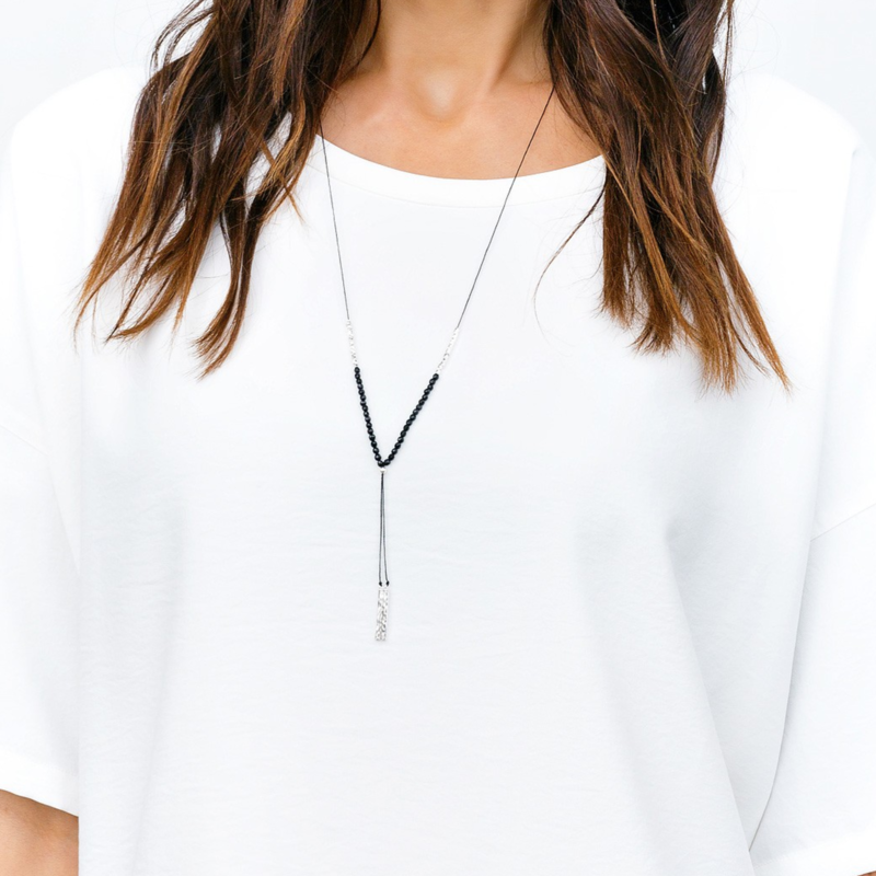 User Generated Content for Gorjana Power Gemstone Necklace in Silver and Black Onyx
