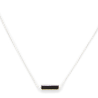 Model Content for Gorjana Dez Bar Necklace in Silver and Black Obsidian