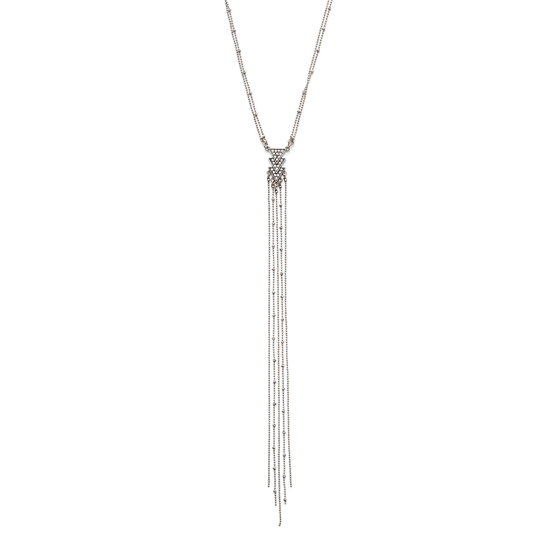 SLATE Lilly Lariat Necklace in Silver