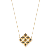 Model Content for House of Harlow 1960 Lyra Pendant Necklace in Gold and Blue