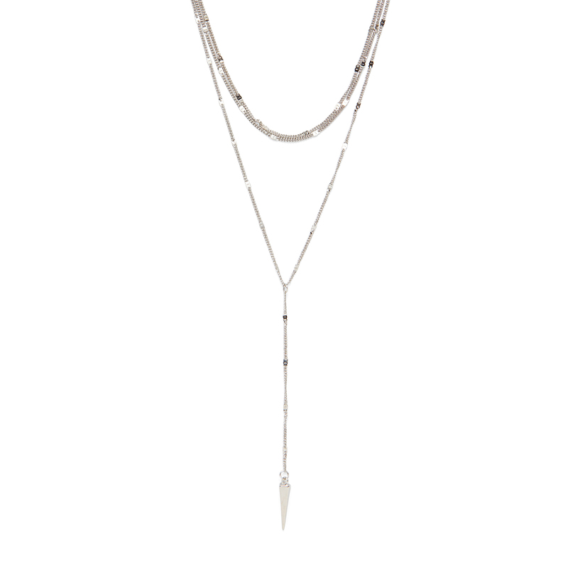 Model Content for Sophie Harper Sophia Lariat Necklace in Silver