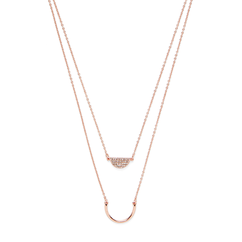 Model Content for Sophie Harper Pavé Layered Crescent Necklace in Rose Gold