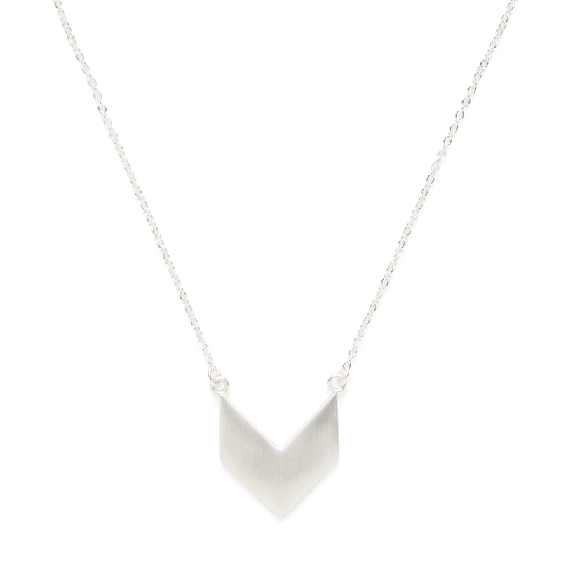 SLATE Chevron Pendant Necklace in Silver