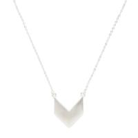 Model Content for SLATE Chevron Pendant Necklace in Silver