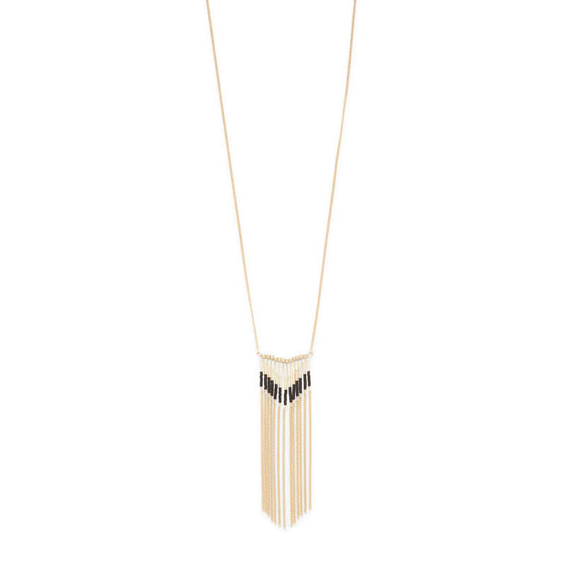 Model Content for Jill Michael Gold and Black Beaded Fringe Necklace