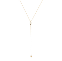 Model Content for Jill Michael Gold Delicate Pave Triangle Lariat Necklace