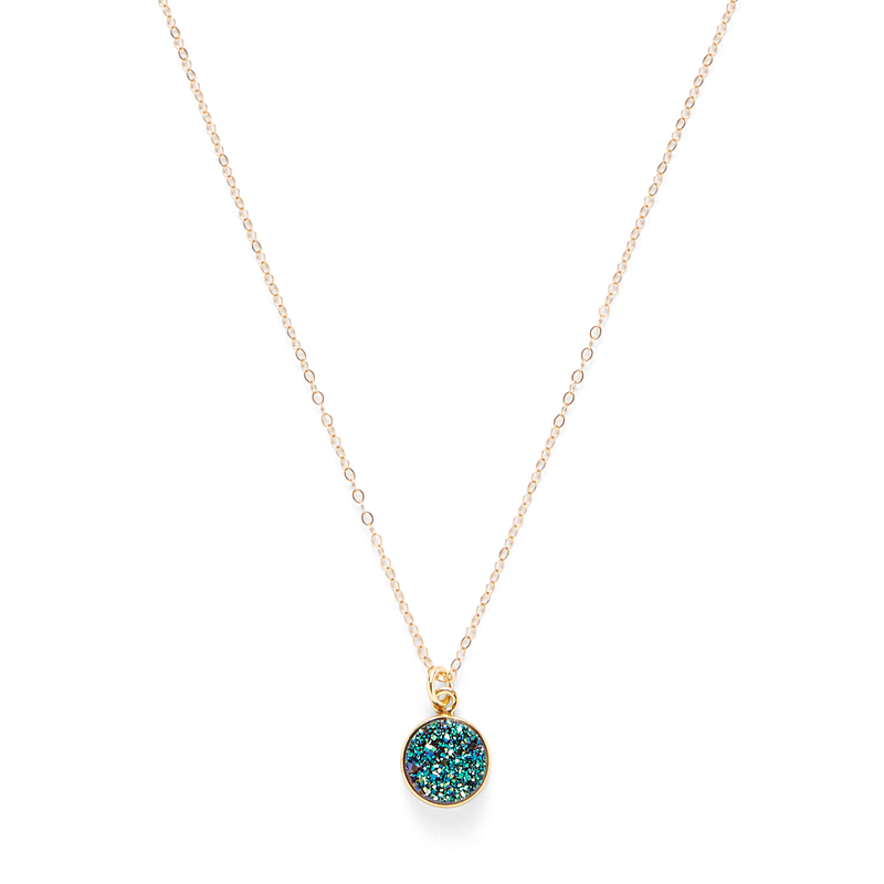 Leslie Francesca Circle Pendant in Peacock Druzy