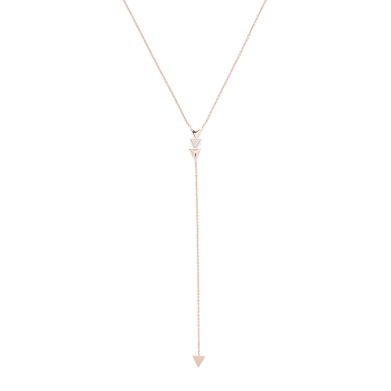 Model Content for Jill Michael Rose Gold Delicate Pave Triangle Lariat