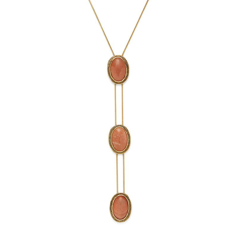 Model Content for House of Harlow 1960 Tanta Crosshatch 3 Tier Bolo Pendant in Silk Stone