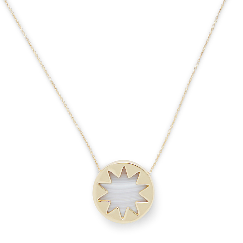 Model Content for House of Harlow 1960 Mini Sunburst Pendant Necklace in White Madagascar Agate