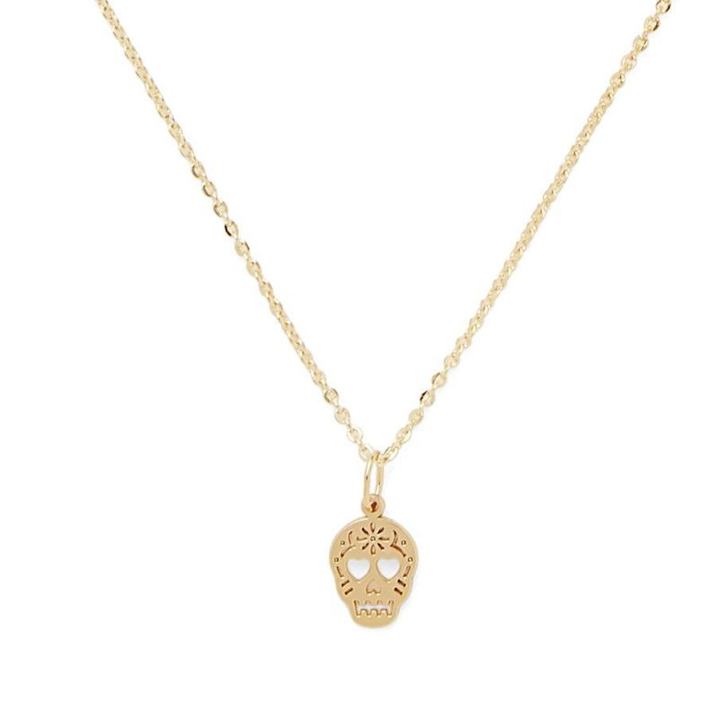 Sophie Harper Sugar Skull Necklace in Gold