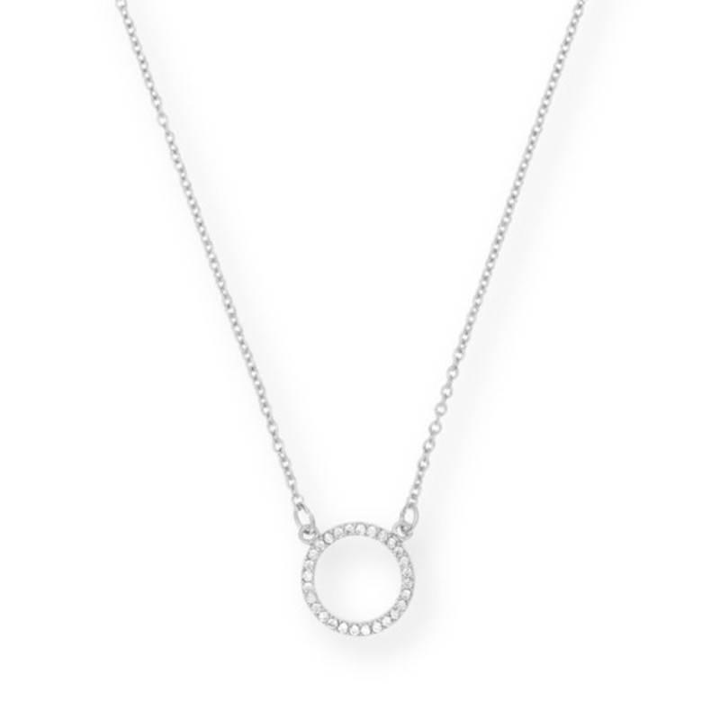 Sophie Harper Pavé Orbit Necklace in Silver
