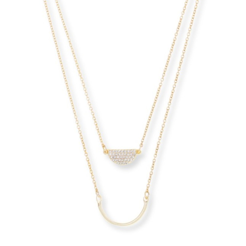 Model Content for Sophie Harper Pavé Layered Crescent Necklace