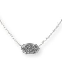 Model Content for Kendra Scott Elisa Silver Necklace in Platinum Drusy