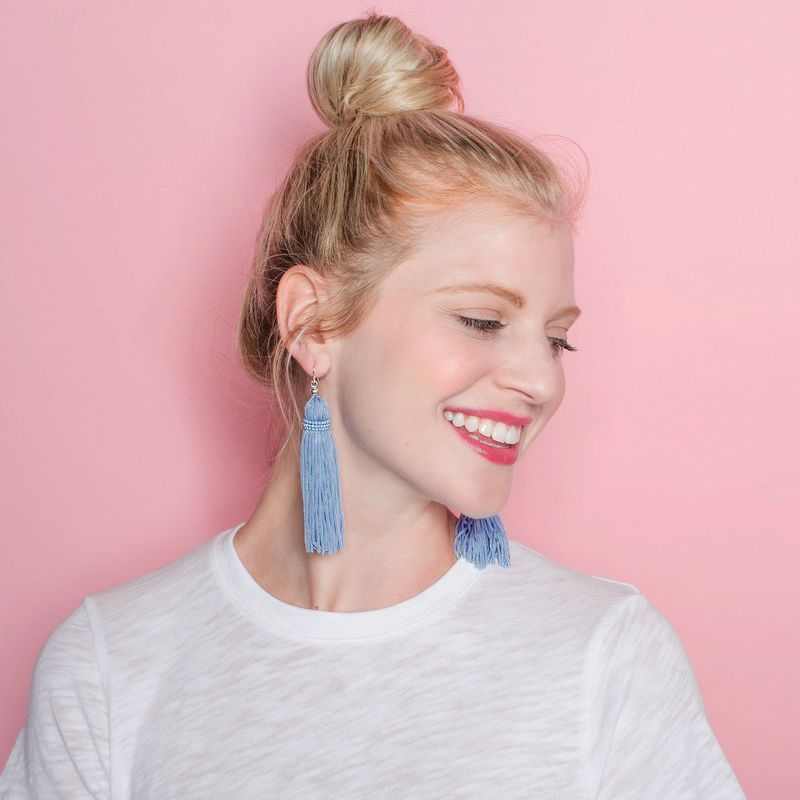 User Generated Content for Perry Street Nova Fringe Earrings in Dusty Blue