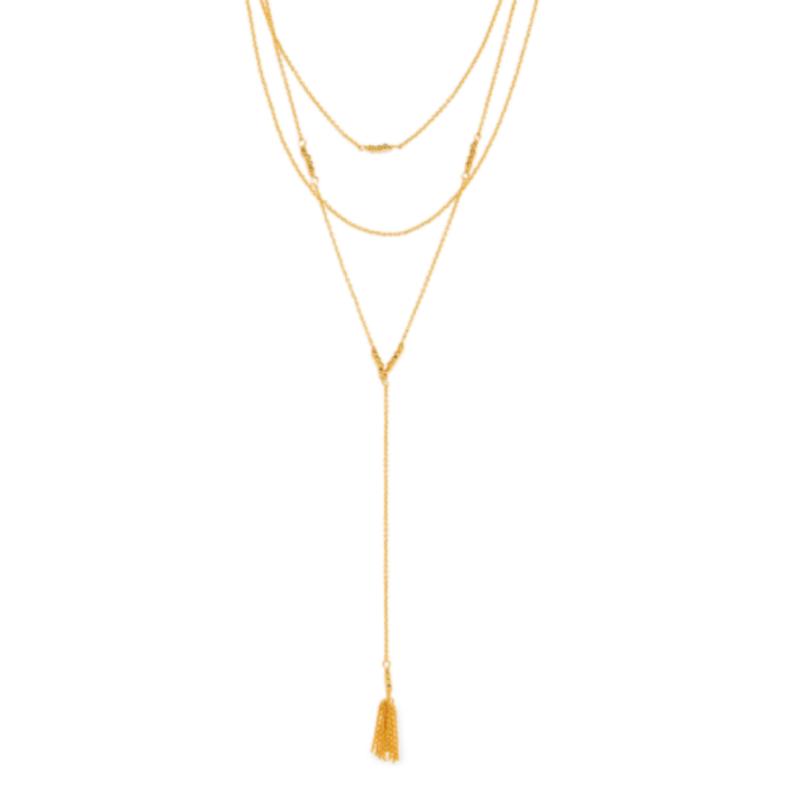 Model Content for Gorjana Joplin Layered Lariat in Gold