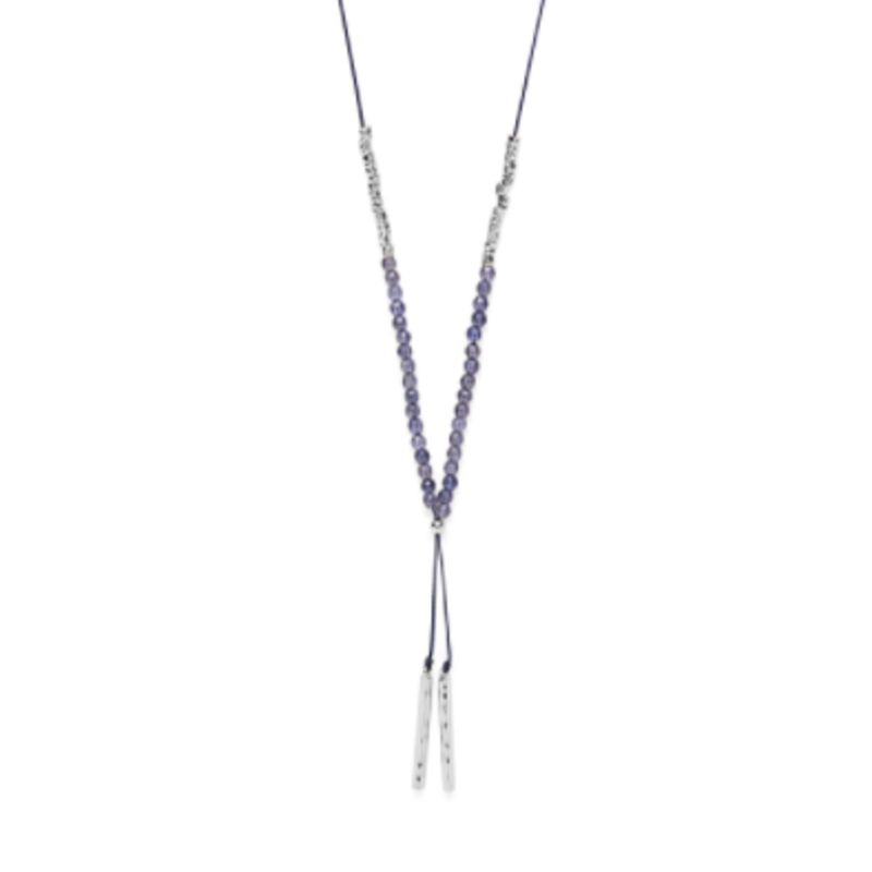 Model Content for Gorjana Power Gemstone Necklace in Silver and Iolite
