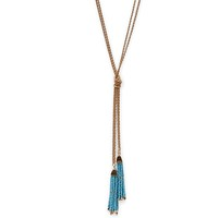 Model Content for SLATE Natalie Tassel Necklace in Turquoise