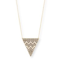 Model Content for House of Harlow 1960 Pavé Tribal Triangle Pendant in Gold
