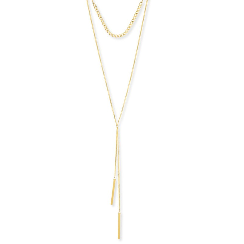 Model Content for a.v. max Mock Lariat Necklace in Gold