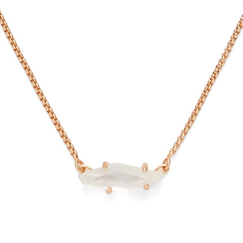 Model Content for Kendra Scott Bridgete Necklace in Rose Gold and Ivory Mother of Pearl