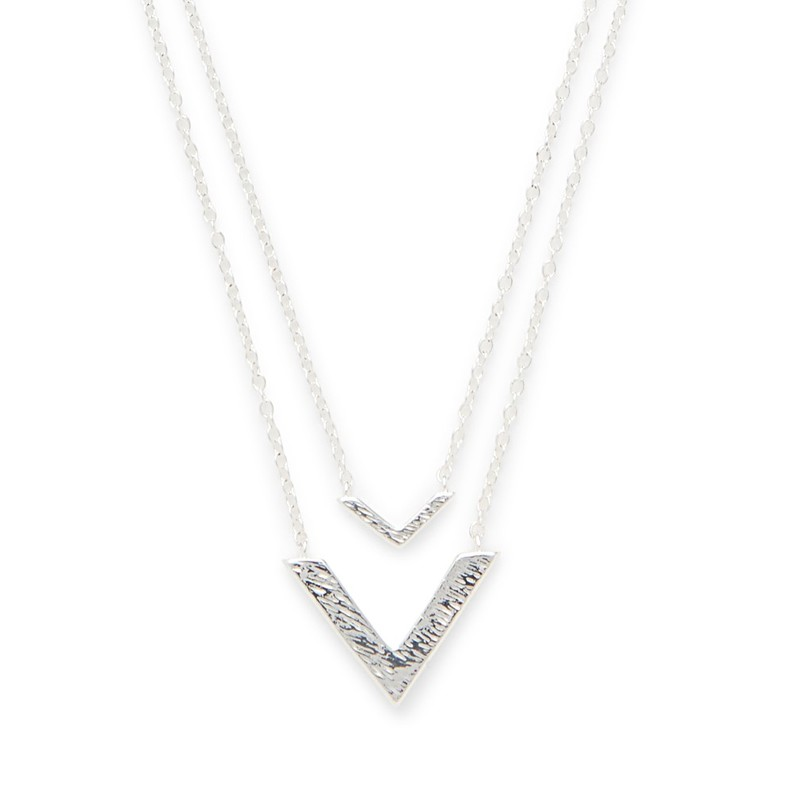 Gorjana Knox V Double Pendant Necklace in Silver