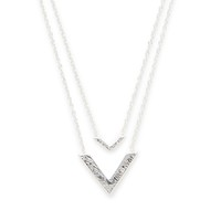 Model Content for Gorjana Knox V Double Pendant Necklace in Silver