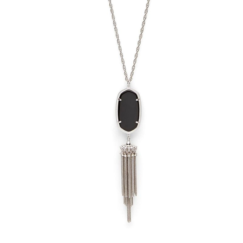 Kendra Scott Rayne Silver Necklace in Black