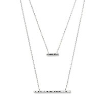 Model Content for Gorjana Mave Hammered Double Pendant Necklace in Silver