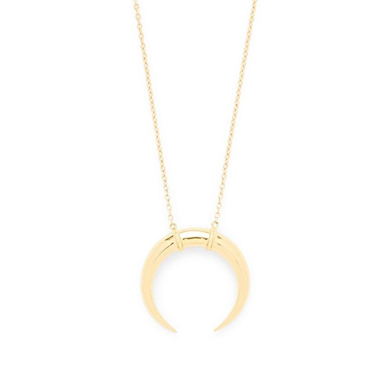 Model Content for Gorjana Cayne Crescent Pendant Necklace