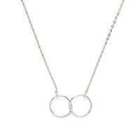 Model Content for Jill Michael Silver Double Hammered Ring Necklace