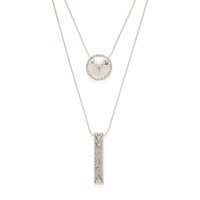 Model Content for House of Harlow 1960 Golden Scutum Double Pendant Necklace in Silver