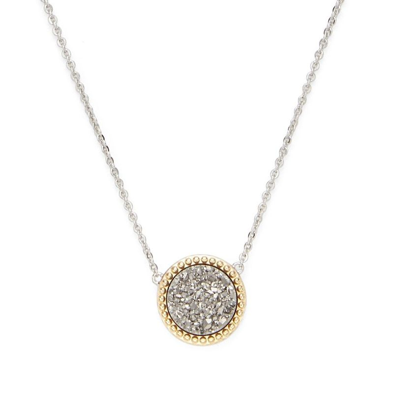 Ava Rose Cheyenne Necklace in Silver with Platinum Druzy