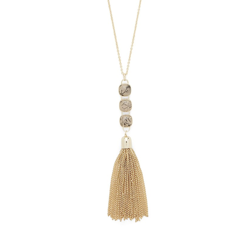 Model Content for Ava Rose Hudson Necklace in Gold and Rutilated Quartz