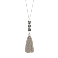 Model Content for Ava Rose Hudson Necklace in Silver and Lavrakite