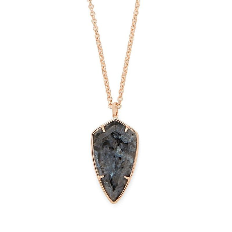 Ava Rose Camden Necklace in Rose Gold and Lavrakite