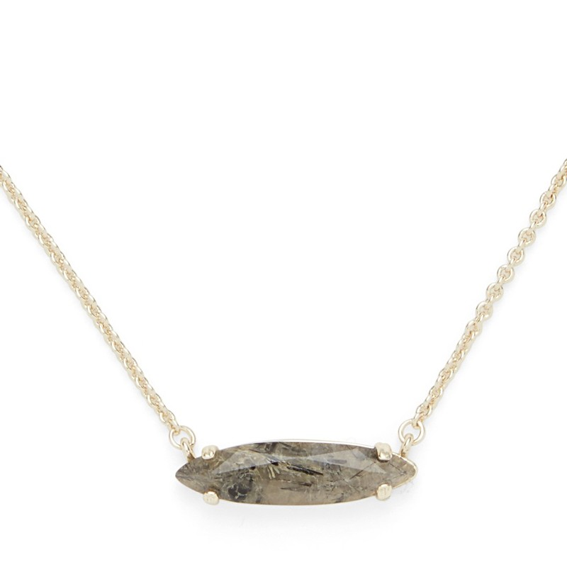 Ava Rose Chandler Necklace in Gold and Rutilated Quartz