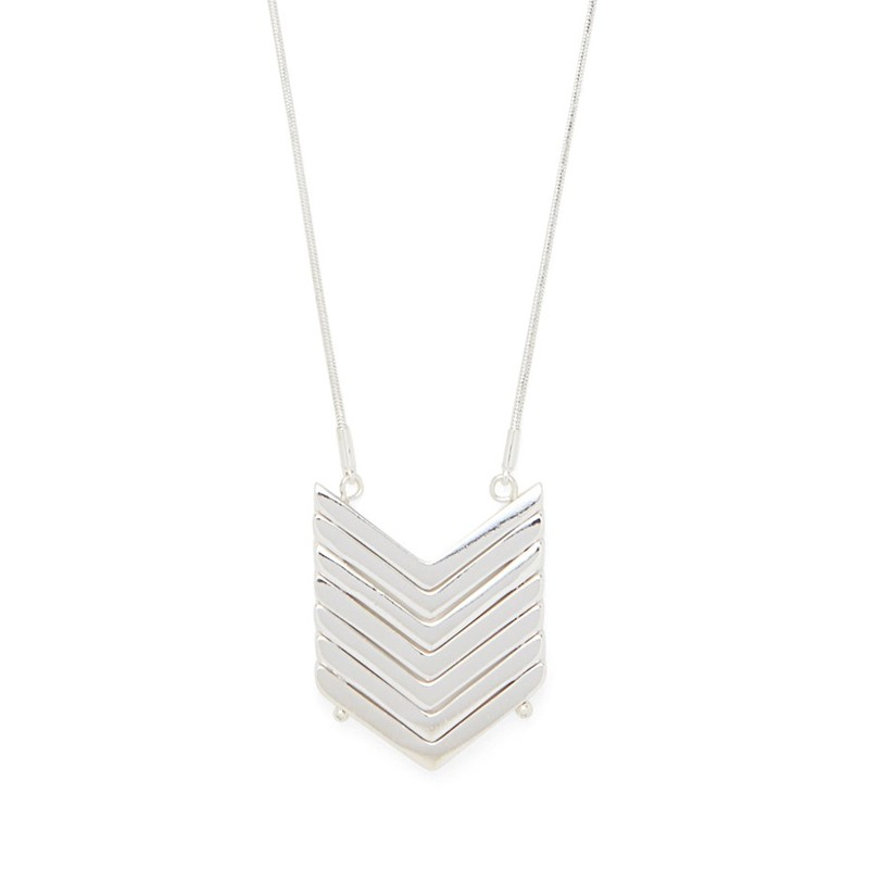 SLATE Demi Chevron Pendant Necklace in Silver