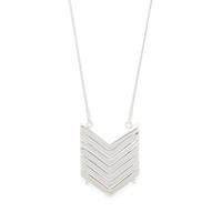 Model Content for SLATE Demi Chevron Pendant Necklace in Silver