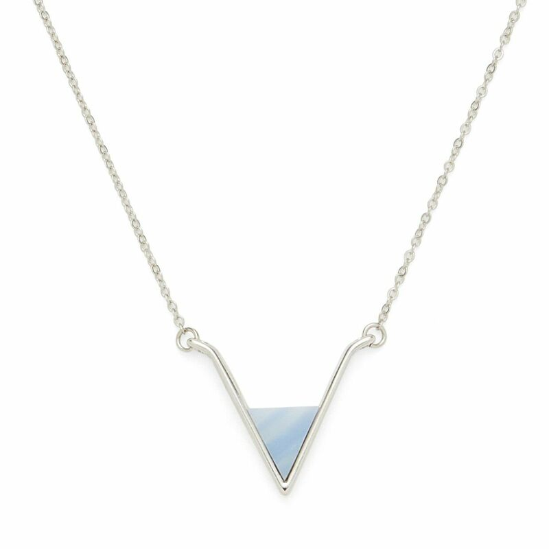SLATE Teagan Pendant in Silver and Blue Lace Agate