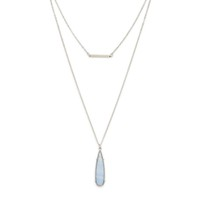 Model Content for SLATE Rowan Layered Necklace in Silver and Blue Lace Agate