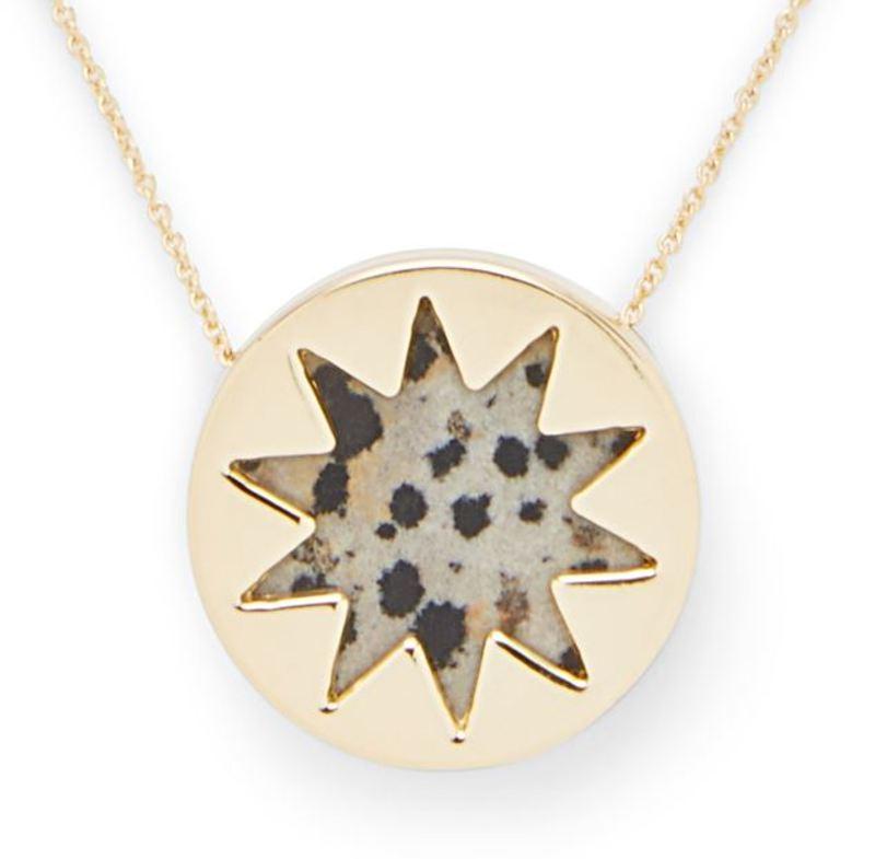 Model Content for House of Harlow 1960 Mini Sunburst Pendant Necklace in Dalmatian Jasper