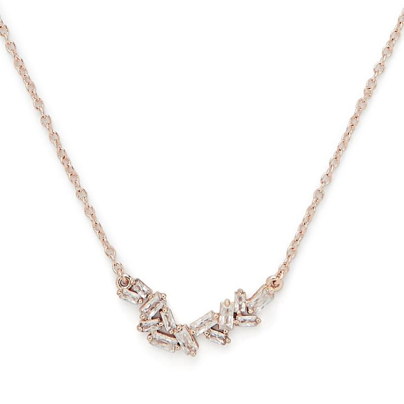 Sophie Harper Baguette Cluster Necklace in Rose Gold