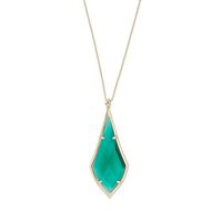 Model Content for Kendra Scott Damon Long Pendant in Brass and Emerald Glass