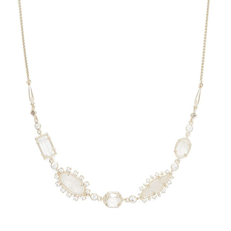 Model Content for Kendra Scott June Adjustable Necklace in Gold and Rock Crystal