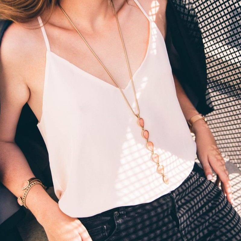 User Generated Content for Loren Hope Sydney Teardrop Pendant Necklace in Apricot