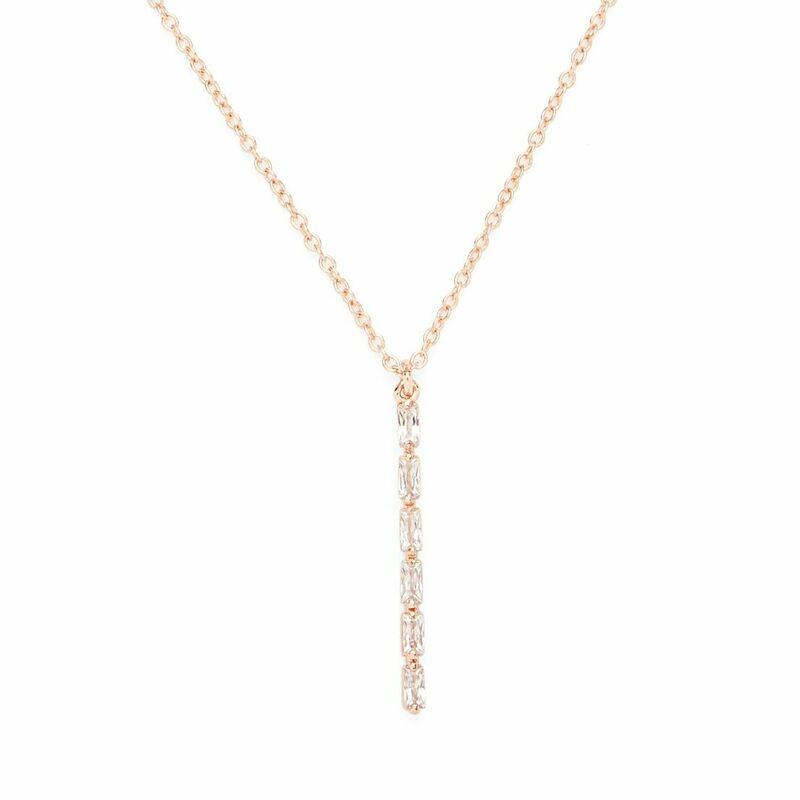 Model Content for Sophie Harper Vertical Baguette Necklace in Rose Gold