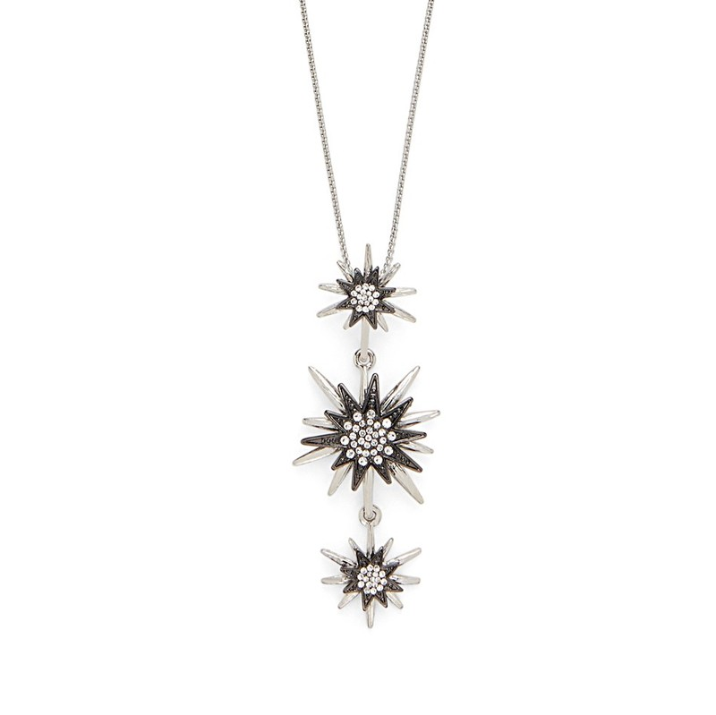 Aster Linnea Pendant in Silver and Gunmetal