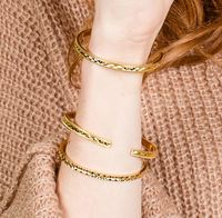 User Generated Content for Aster Gardenia Cuff Set of 3 in Gold